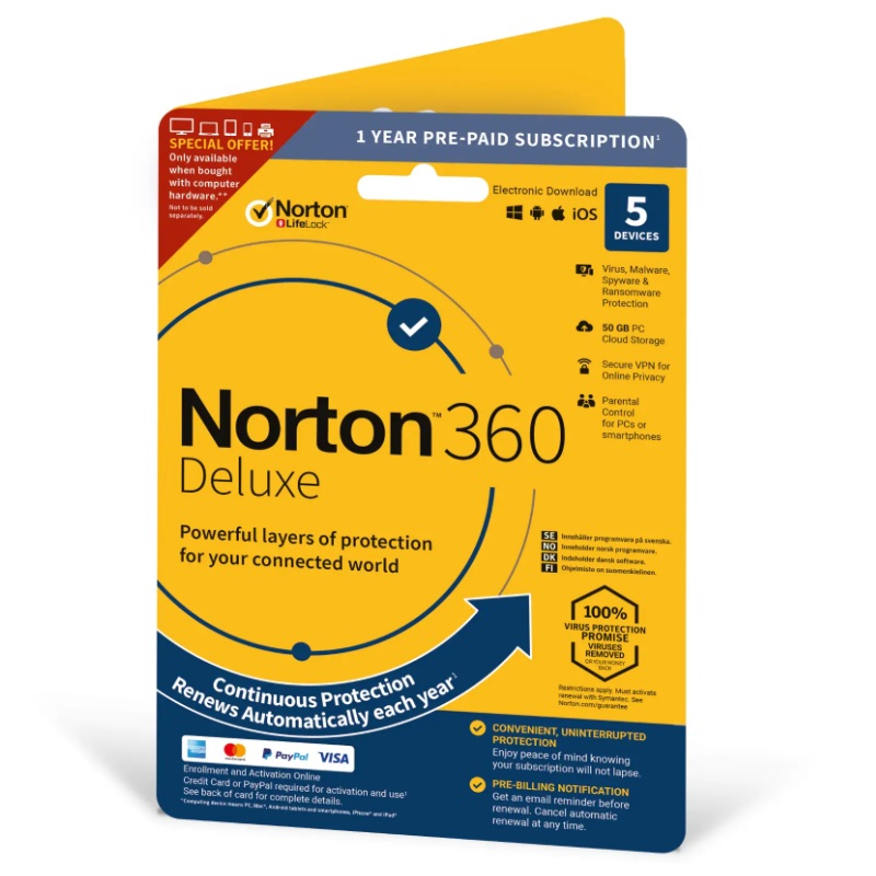 SYMANTEC Norton 360 deluxe 50GB 1 user 5 device 12mo also attach enr dvdslv (ND)
